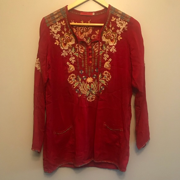 1b67dc8a4cf73 Johnny Was Tops - Johnny Was Red Embroidered Tunic Top